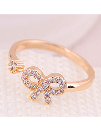 Fashion Gold Inlaid Zircon Bow Open Ring