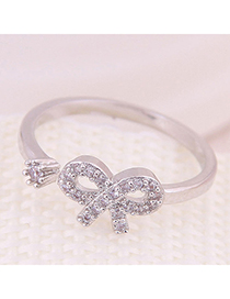 Fashion Silver Inlaid Zircon Bow Open Ring