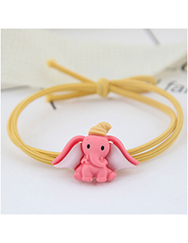 Fashion Pink Elephant Baby Elephant Hair Ring