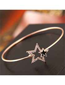 Fashion Gold Flash Diamond Pentagram Bracelet