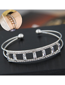 Fashion Silver Flash Drill Opening Bracelet