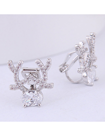 Fashion Silver Copper Micro-inlaid Zircon Goat Ear Clip