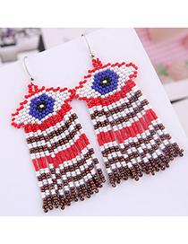 Fashion Red Mizhu Eyebrow Tassel Earrings