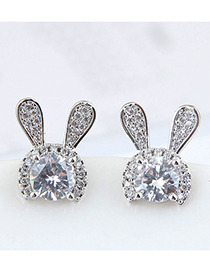 Fashion Silver 925 Silver Needle Copper Micro-inlaid Zircon Rabbit Earrings