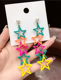 Fashion Color Pentagram Ear Stud