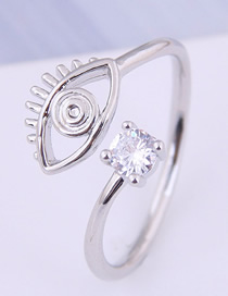 Fashion Silver Inlaid Zircon Eyebrow Opening Ring