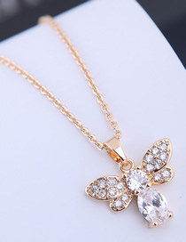 Fashion Gold Copper Micro Inlaid Zircon Bee Necklace