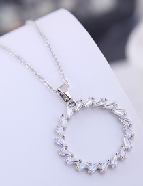 Fashion Silver Copper Micro Inlaid Zircon Ring Necklace