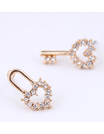 Fashion White Key Lock Asymmetric Female Earrings