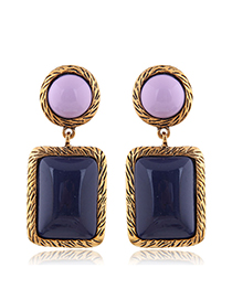 Fashion Dark Blue Metal Geometric Square Earrings