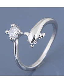 Fashion Silver Zircon Dolphin Open Ring