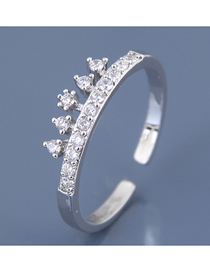 Fashion Silver Inlaid Zircon Opening Ring