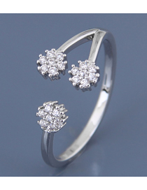 Fashion Silver Inlaid Zircon Flower Opening Ring