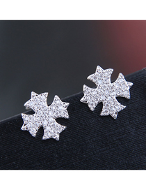 Fashion Silver 925 Silver Needle Copper Micro-inlaid Zircon Snowflake Stud Earrings