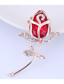 Fashion Red Metal Gemstone Tulip Brooch
