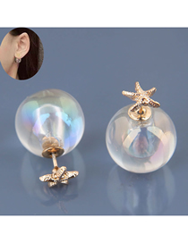 Fashion Gold 925 Silver Needle Ball Starfish Earrings