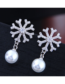 Fashion Silver Copper Micro Inlaid Zircon Snowflake Pearl Stud Earrings