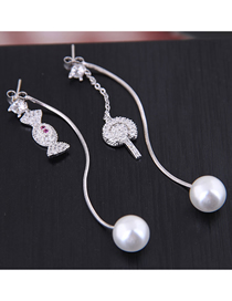 Fashion Silver Copper Micro Inlaid Zircon Lollipop Pearl Stud Earrings