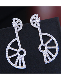 Fashion Silver Copper Micro Inlaid Zircon Fan Earrings