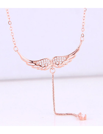Fashion Gold Copper Plated Real Gold Angel Wings Necklace