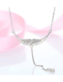 Fashion Silver Copper Plated Real Gold Angel Wings Necklace