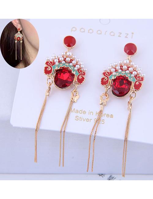 Fashion Red Peking Opera Hua Dan Facebook Fringe Stud Earrings