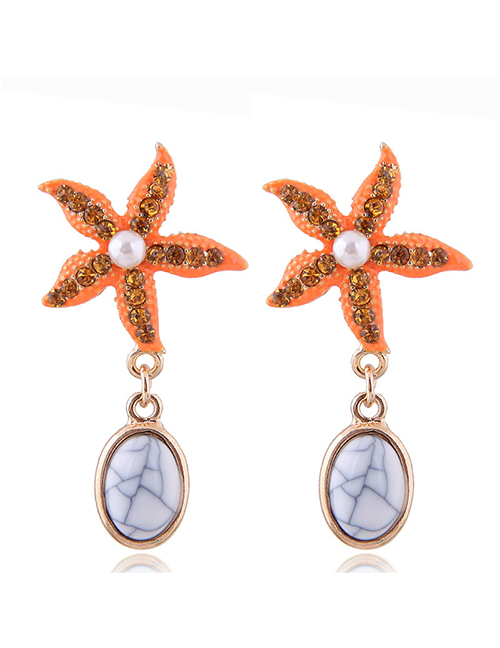 Fashion Yellow Metal Seashell Wind Starfish Drop Earrings