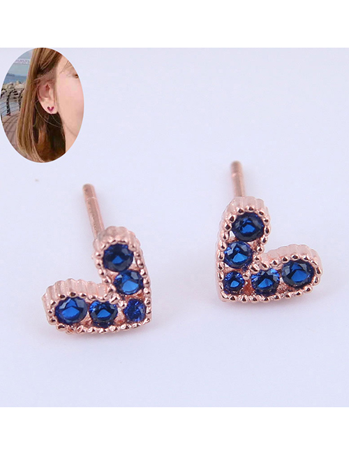 Fashion Royal Blue Small Flash Diamond Love Earrings