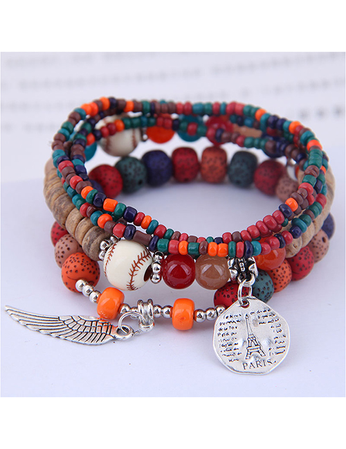 Fashion Crimson Disc Tower Wings Beizhu Multilayer Female Bracelet