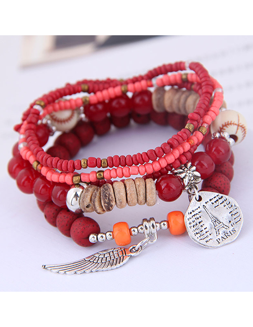 Fashion Pink Disc Tower Wings Beizhu Multilayer Female Bracelet