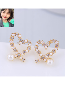 Fashion Gold Copper Plated Gold Glitter Diamond Love Earrings