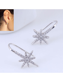 Fashion Silver Copper Plated Gold Flash Diamond Bauhinia Earrings