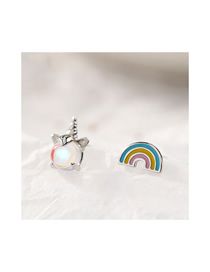 Fashion Silver Copper Plated Real Gold Rainbow Aurora Unicorn Asymmetric Stud Earrings