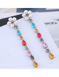 Fashion Color + Silver Metal Gemstone Earrings