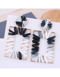 Fashion Black + White Metal Braided Cube Stud Earrings