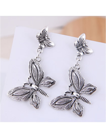 Fashion Silver Metal Bow Earrings
