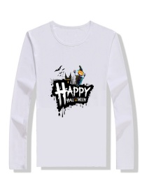 Fashion White Halloween Print Children's T-shirt