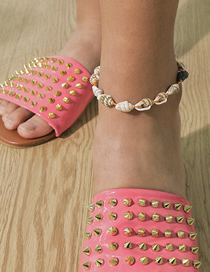 Fashion Color Mixing Braided Geometric Adjustable Conch Anklet