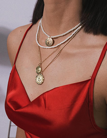 Fashion Gold Portrait Beaded Diamond Multi-layer Pearl Embossed Flower Necklace