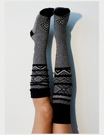 Fashion Black Knitted Tube Socks Wool Socks