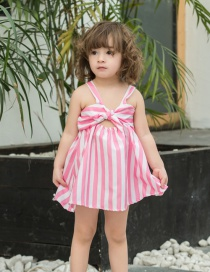 Fashion Pink Stripe Bow Striped Children's Dress