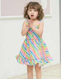 Fashion Color Stripe Striped Wave Point Sling Children's Dress