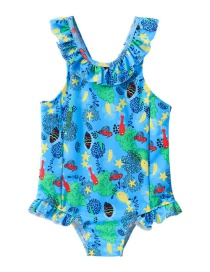 fashion Blue underwater world Ruffled swimming cartoon children's one-piece swimsuit