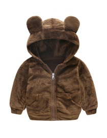 Fashion Brown Bear Hooded Lambskin Children's Jacket