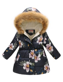 Fashion Big Blue Flower Flower Print Cartoon Fur Collar Big Boy Hooded Cotton Coat