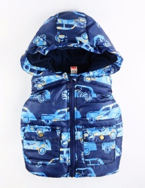 Fashion Navy Blue Car Pattern Print With Cap Children's Vest