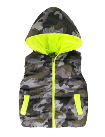 Fashion Camouflage Green Camouflage Pattern With Cap Children's Vest