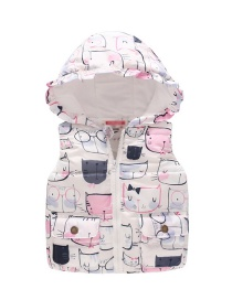 Fashion Cartoon On White Lace Hooded Children's Vest