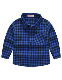 Fashion Blue Small Grid Plaid Children's Shirt