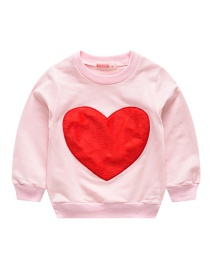 Fashion Pink Heart Love Patch Children's Sweater